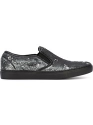 Juun.J Sequin Slip On Sneakers Grey