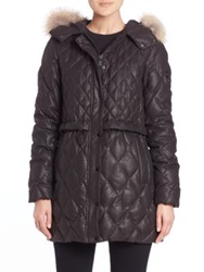 Andrew Marc New York Ava Fur Trimmed Quilted Parka Black