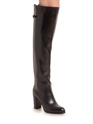 Sergio Rossi Leather Knee High Buckle Tab Boots Black