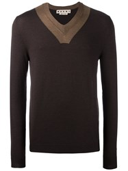 Marni Contrast V Neck Jumper Brown