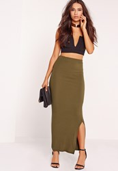 Missguided Long Ribbed Maxi Khaki Beige