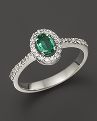 Bloomingdale's Emerald And Diamond Oval Ring In 14K White Gold Multi
