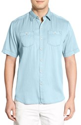 Tommy Bahama Men's 'New Twilly' Island Modern Fit Short Sleeve Twill Shirt Winter Sky