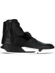 Versace Side Zip Hi Top Sneakers Black