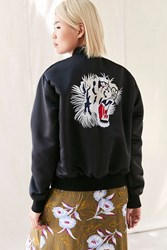 Urban Renewal Recycled Embroidered Satin Bomber Jacket Black