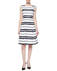 Carmen Marc Valvo Sleeveless Striped Pleated Skirt Dress