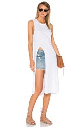 Bobi Slubbed Jersey Slit Tank Dress White