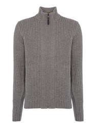 Duck And Cover Men's Turin Zip Through Textured Jumper Grey