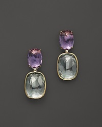 Vianna Brasil 18K Yellow Gold Earrings With Amethyst Prasiolite And Diamond Accents Multi Gold