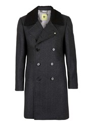 Topman Noose And Monkey Dark Grey Herringbone Coat