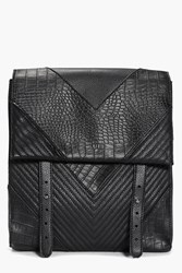 Boohoo Mock Croc And Quilted Backpack Black