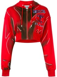 Moschino Trompe L'oeil Logo Hoodie Red
