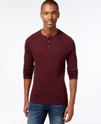 Vince Camuto Waffle Knit Thermal Henley Sweater Berry Heather