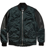 Tim Coppens Leather Panelled Shell Bomber Jacket Blue