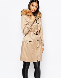 Lipsy Parka Mac With Faux Fur Collar Stone