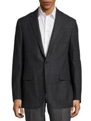 Polo Ralph Lauren Plaid Wool Blazer Black Charcoal