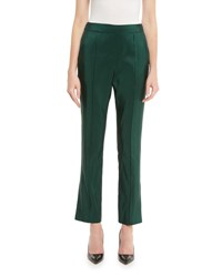 Rosie Assoulin Skinny Silk Faille Ankle Pants Hunter Green