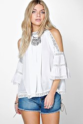 Boohoo Crochet Trim High Neck Open Shoulder Blouse White