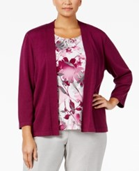 Alfred Dunner Plus Size Veneto Valley Collection Layered Look Floral Print Top Wine