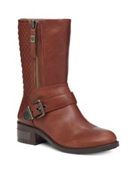 Vince Camuto Whynn Moto Quilted Leather Mid Calf Boots Mid Brown