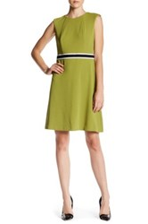 Nine West Contrast Trim A Line Dress Green