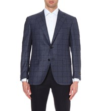 Corneliani Tailored Fit Windowpane Checked Cashmere And Silk Blend Blazer Blue