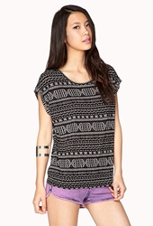 Forever 21 Tribal Print Tee Black White