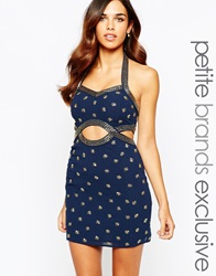 Maya Petite Navy Embellished Bodycon Cut Out Dress