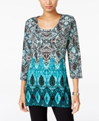 Jm Collection Printed Tunic Only At Macy's Teal Coperhead