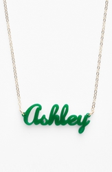 Moon And Lola 'Script Font' Personalized Nameplate Pendant Necklace Emerald Gold