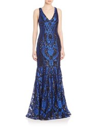 David Meister Three Dimensional Embroidered Gown Royal Black