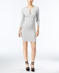 Guess Addison Lace Up Bodycon Dress A Macy's Exclusive Heather Light Grey