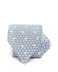 Thomas Pink Elephant Family Print Classic Tie Pale Pink Blue