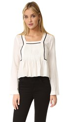 La Vie Rebecca Taylor Winter Gauze Tuck Blouse Chalk