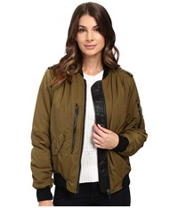 Blank Nyc Bomber Jacket In She's A Toad Green Women's Coat