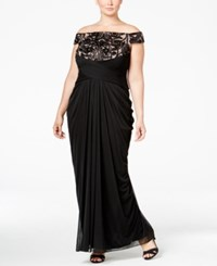 Adrianna Papell Plus Size Off The Shoulder Lace Trim Gown Black Rose Gold