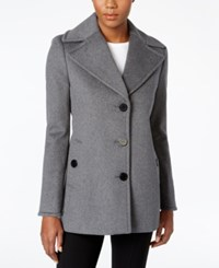 Calvin Klein Petite Wool Cashmere Single Breasted Peacoat Only At Macy's Light Gray