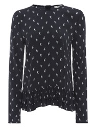 Bzr Eik Bird Print Top Navy