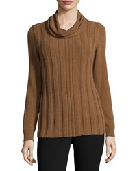 Lafayette 148 New York Long Sleeve Cowl Neck Cashmere Sweater Coconut Melange