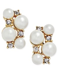 Charter Club Gold Tone Imitation Pearl Crystal Cluster Earrings Only At Macy's Multi