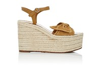 Valentino Women's Tropical Suede And Leather Espadrille Wedge Sandals Tan
