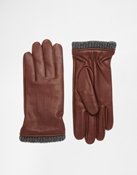 Jack Wills Lauriston Leather Gloves Brown