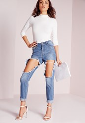 Missguided Petite High Rise Open Thigh Jeans Stonewash Blue Blue