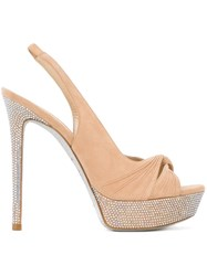 Rene Caovilla Knot Embellished Sandals Nude And Neutrals