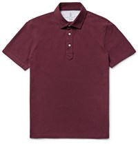 Brunello Cucinelli Lim Fit Cotton Pique Polo Hirt Burgundy