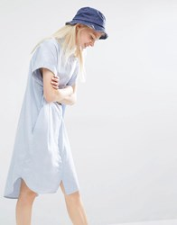 Monki Oversized Sleeveless Shirt Dress Blue Chambray