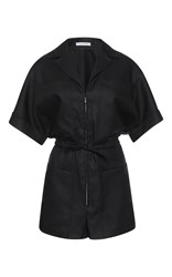 Barbara Casasola Rio Stretch Linen Jumpsuit Black