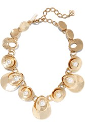 Oscar De La Renta Gold Plated Faux Pearl Necklace