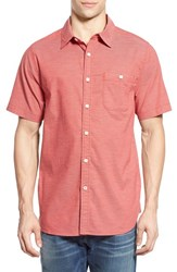 The North Face Men's 'Red Point' Active Fit Stripe Sport Shirt Pompeian Red