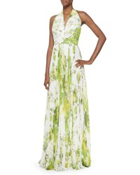 Carmen Marc Valvo Sleeveless Accordion Pleated Halter Gown Lime Green Size 12
